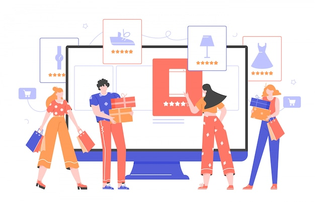 Online shopping and e-commerce. monitor with an online store, product cards with goods rankings, a girl makes a purchase. buyers with bags and gift boxes. Premium Vector