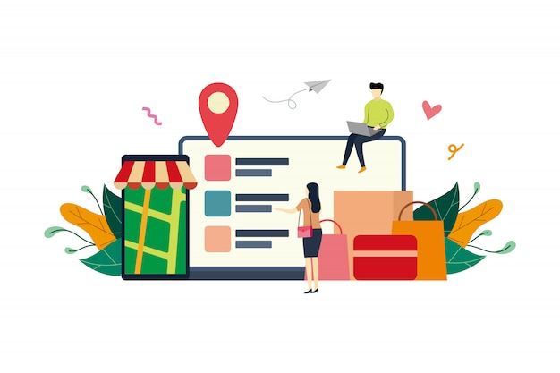 Online shopping, ecommerce market flat illustration with small ...