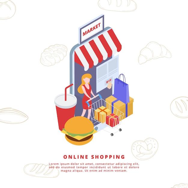 オンラインショッピング要素アイソメトリックスタイル Premiumベクター
