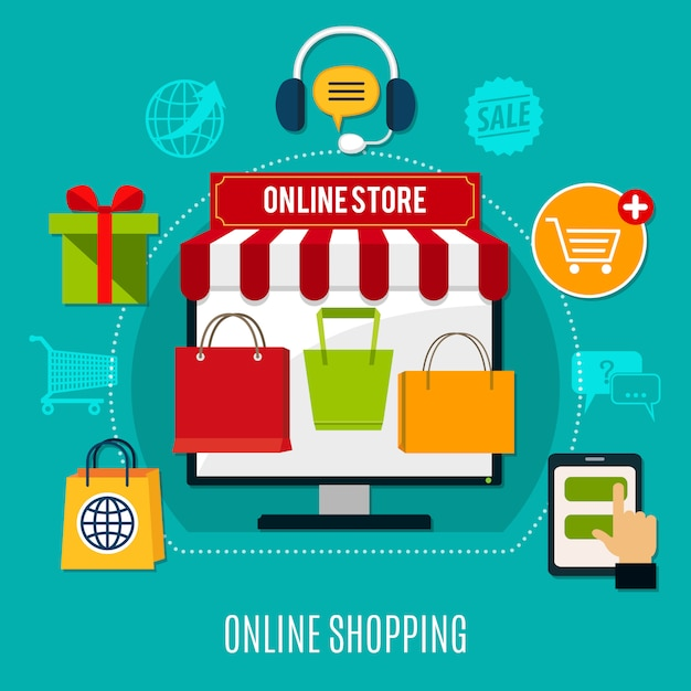 Online shopping flat composition Free Vector