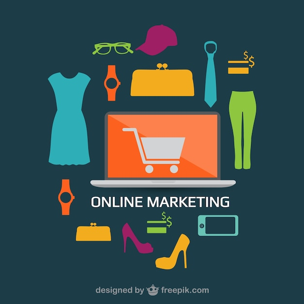 Online shopping flat design concept image vector free for Design online shop