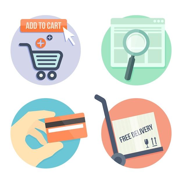 온라인 상점을위한 온라인 쇼핑 평면 디자인 아이콘, 가방에 추가, 결제 방법 및 배송 무료 벡터