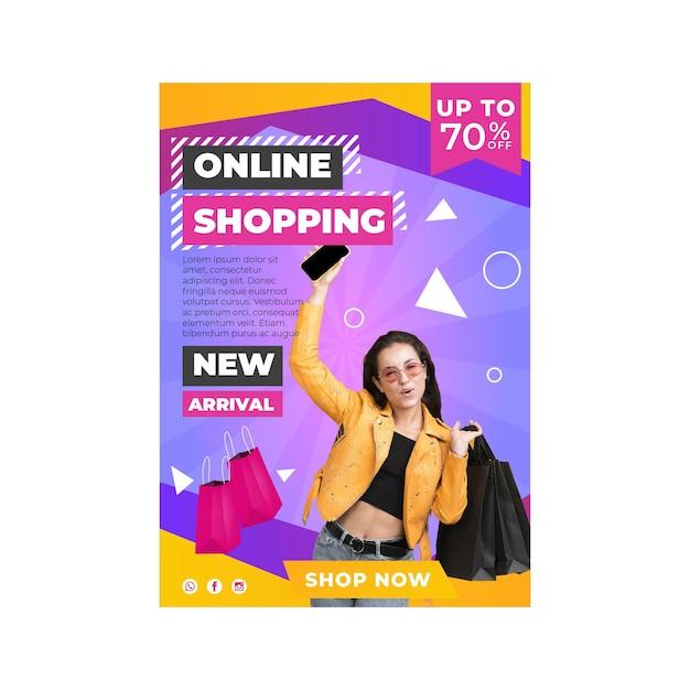 Online shopping flyer template Premium Vector