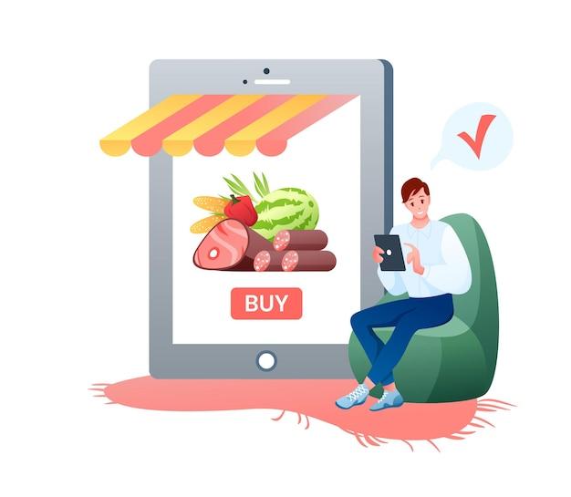 온라인 쇼핑 식료품 점. 프리미엄 벡터