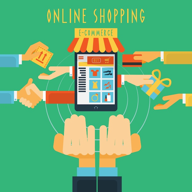 Online shopping hands concept print Free Vector