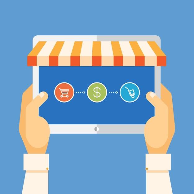 オンラインショッピング、タブレットpcを手に持って、商品を購入する 無料ベクター