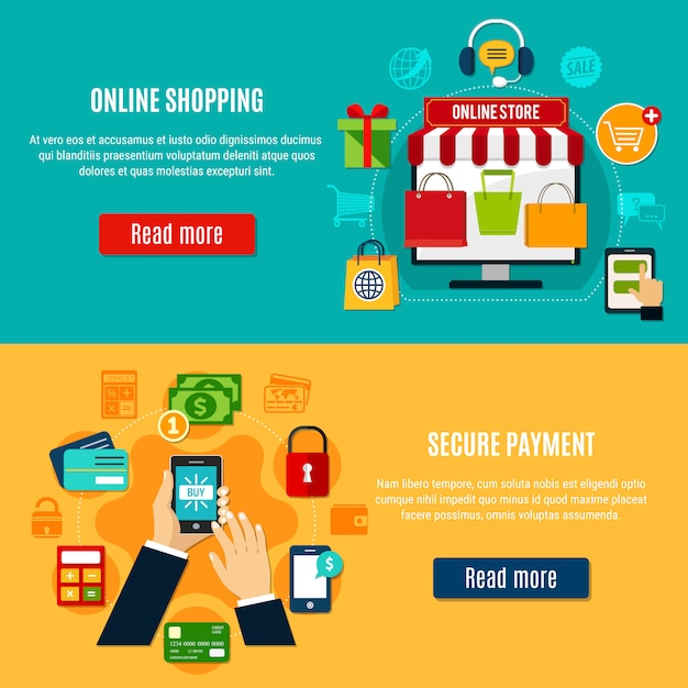 Online shopping horizontal banners Free Vector
