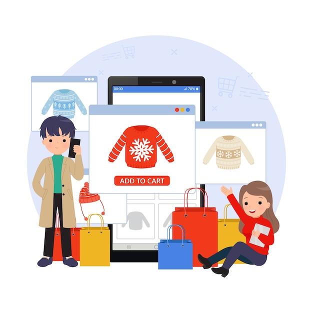 オンラインショッピングのイラスト。携帯電話やタブレットを使って買い物をする男女。 eコマースのランディングページ。フラットな漫画のデザイン。 Premiumベクター