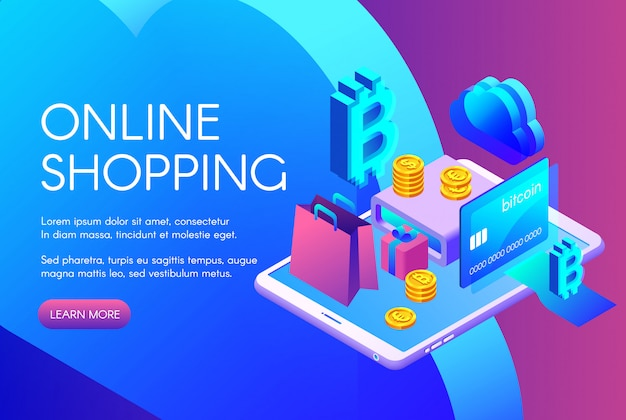 Online shopping illustration of bitcoin payment or cryptocurrency card  Free Vector