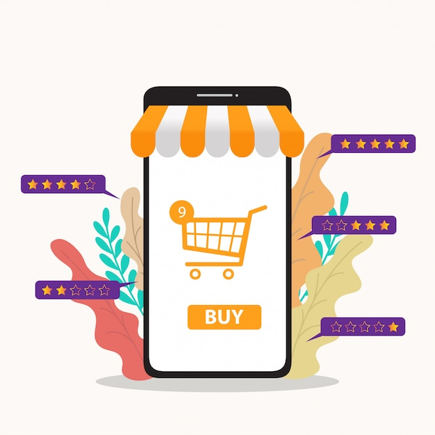 Online shopping illustration Premium Vector