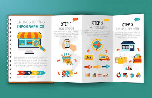 Online shopping infographics leaflet Free Vector