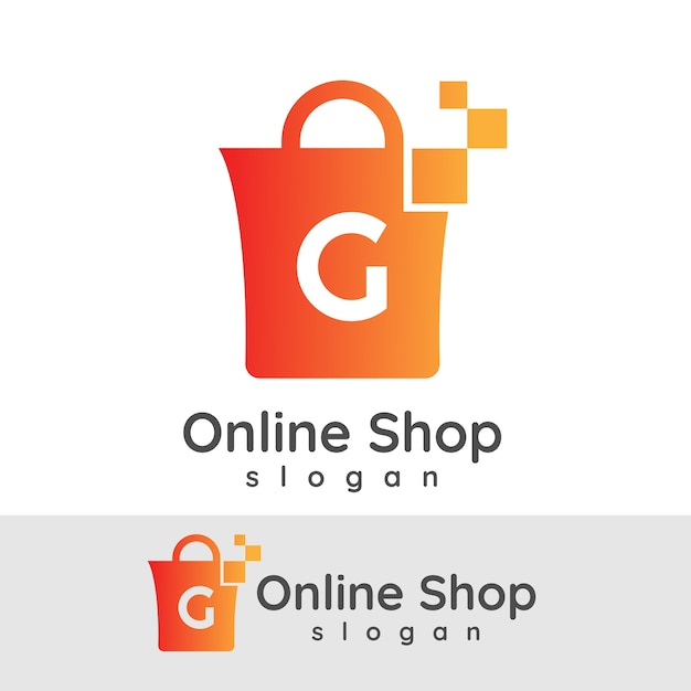 Online shopping initial letter g logo design vector for Design on line outlet