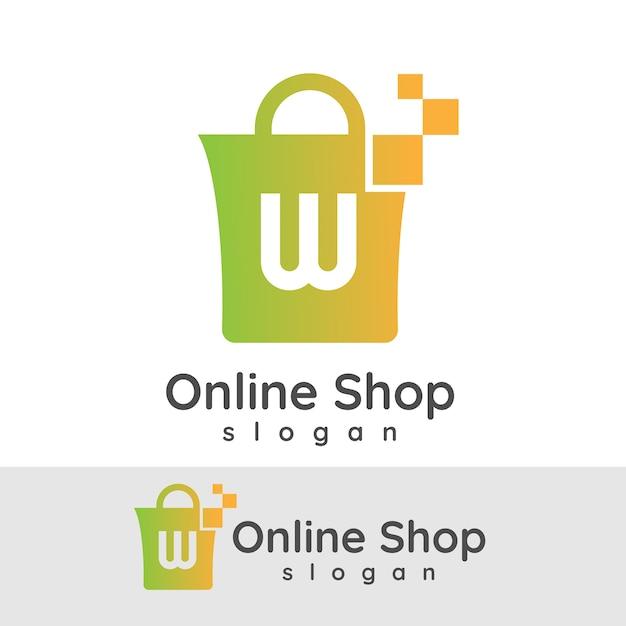 online shopping initial letter w logo design vector premium download