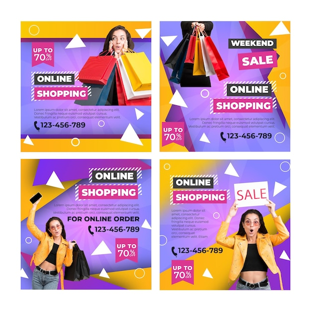 Online shopping instagram posts template Free Vector