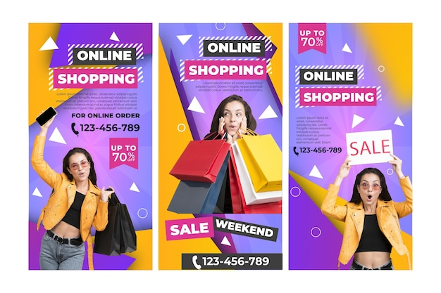 Online shopping instagram stories template Free Vector