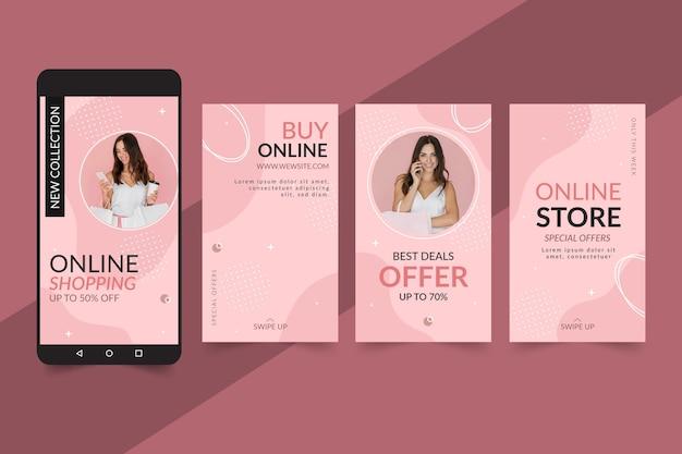 Storie di instagram di shopping online Vettore gratuito