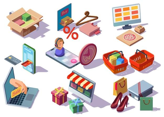Интернет-магазины, интернет-магазин изометрической коллекции иконок с товарами Бесплатные векторы