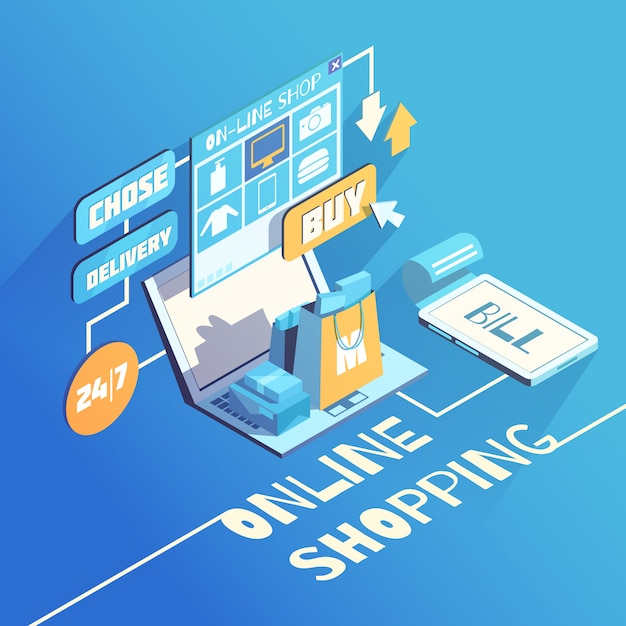 Online shopping isometric composition Free Vector