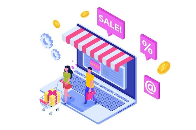 文字とオンラインショッピング等尺性概念 Premiumベクター