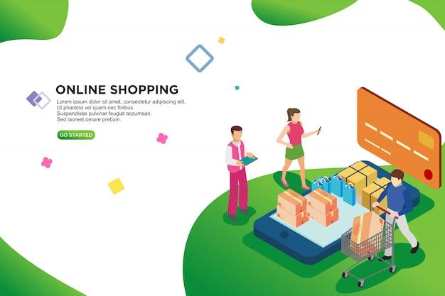Online shopping isometric design, vector Premium Vector
