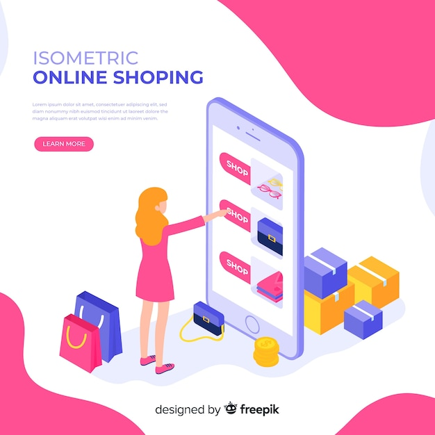 Online shopping isometric illustration Free Vector
