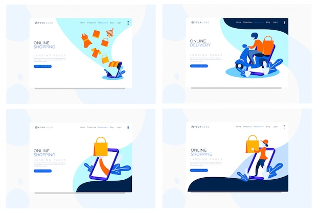 Online shopping landing page flat illustration Premium Vector