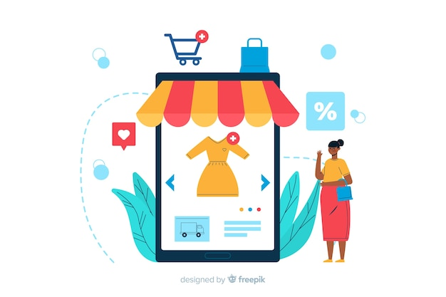 Online shopping landing page illustration Free Vector