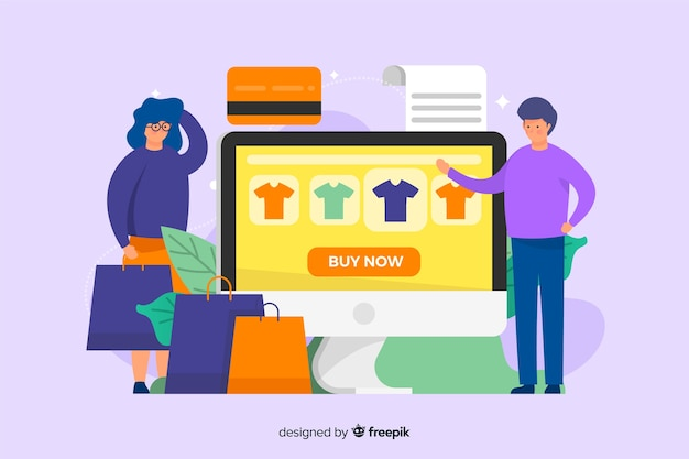 Online shopping landing page template flat design Free Vector