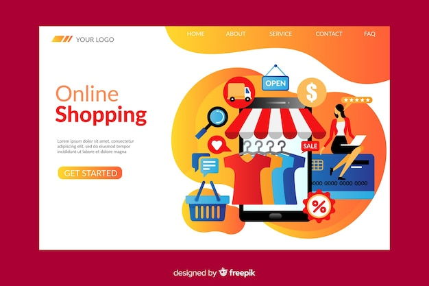 Online shopping landing page template Free Vector