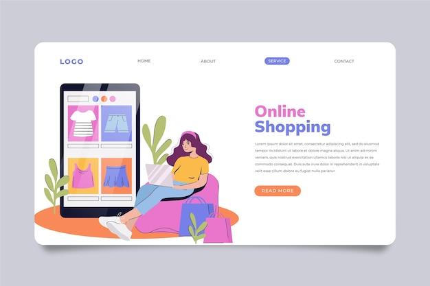 オンラインショッピングのランディングページテンプレート Premiumベクター