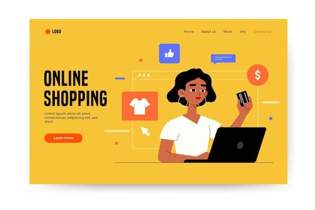 オンラインショッピングのランディングページテンプレート 無料ベクター