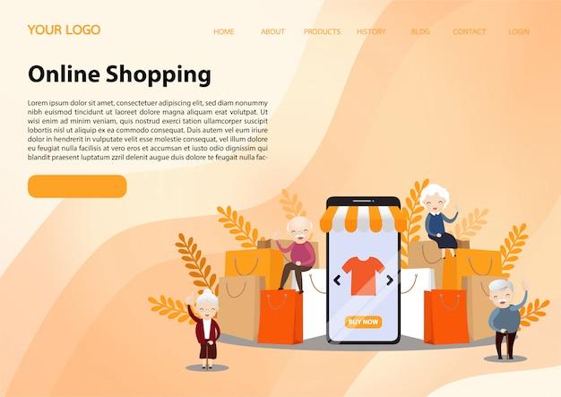 Online shopping landing page Premium Vector