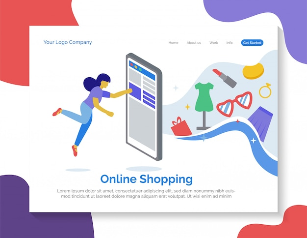 Online shopping landing page Premium Vector