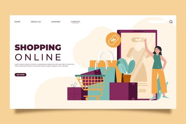 オンラインショッピングのランディングページ 無料ベクター