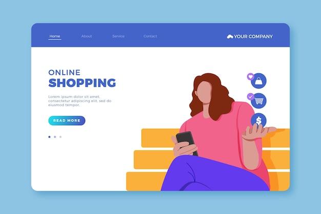 オンラインショッピング-ランディングページ 無料ベクター