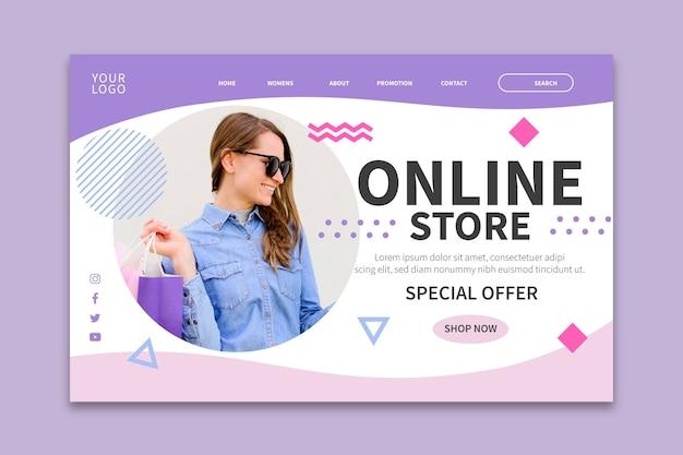 Pagina di destinazione dello shopping online Vettore gratuito