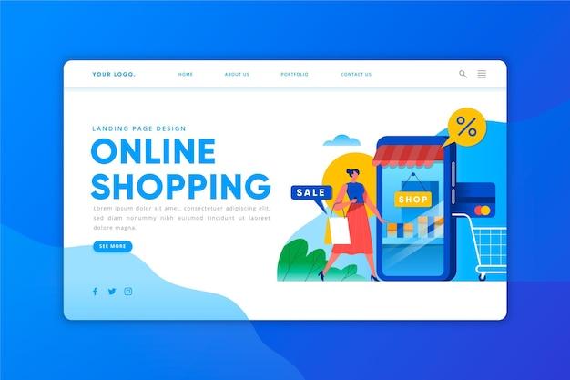 Online shopping - landing page Premium Vector