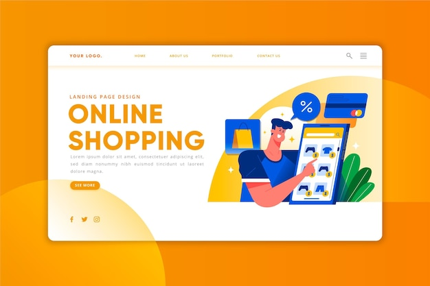 Online shopping - landing page Free Vector