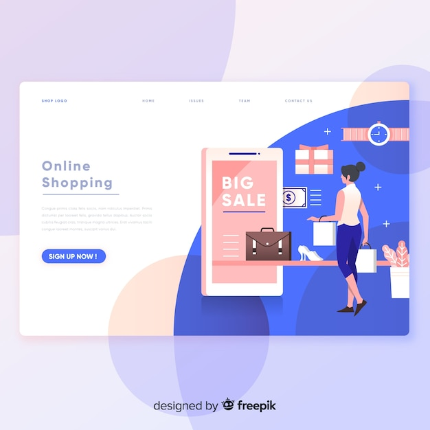 Online shopping landing page Free Vector