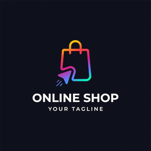 Online shopping logo design template Premium Vector