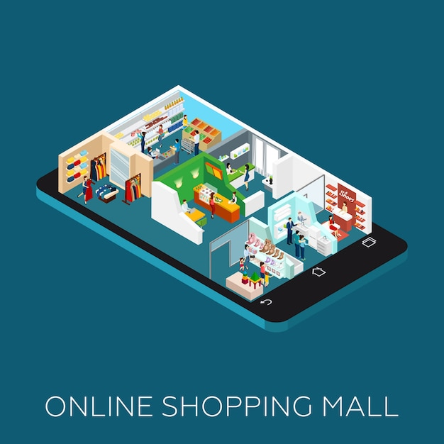 Online shopping mall isometric icon Free Vector