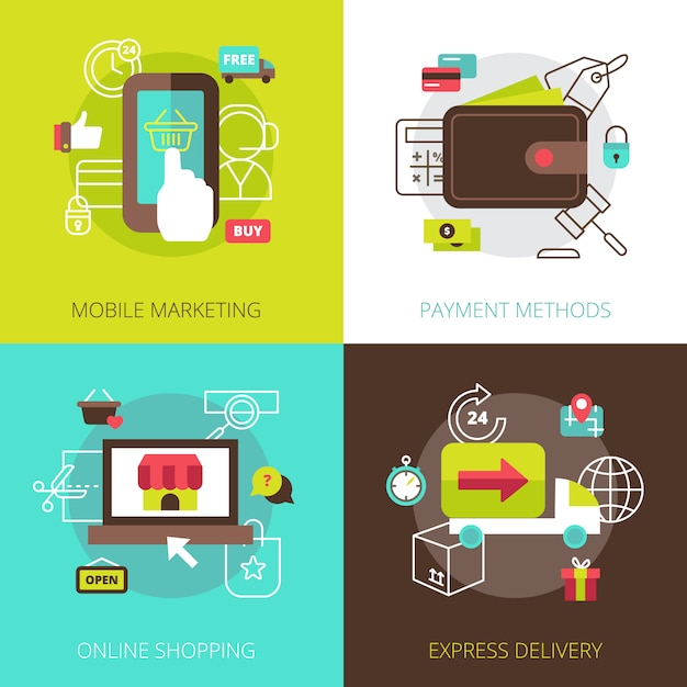 Online shopping marketing methods and secure payment options 4 flat icons Free Vector