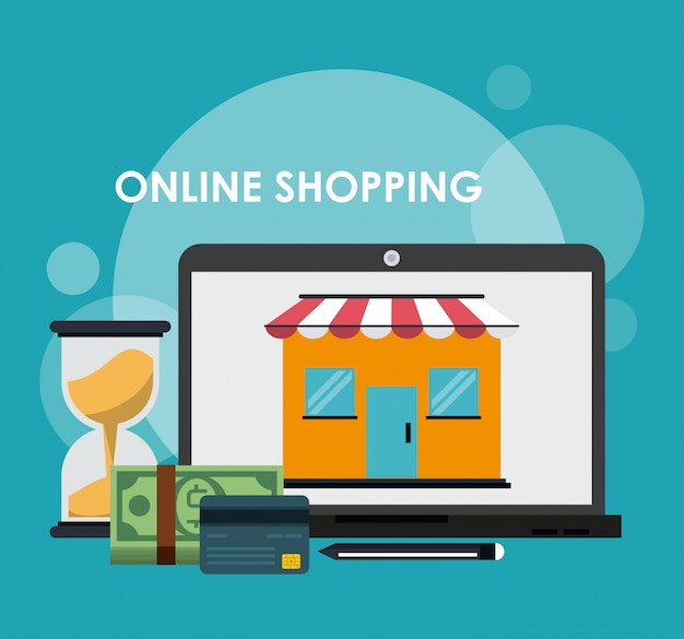 Online shopping and marketing Premium Vector