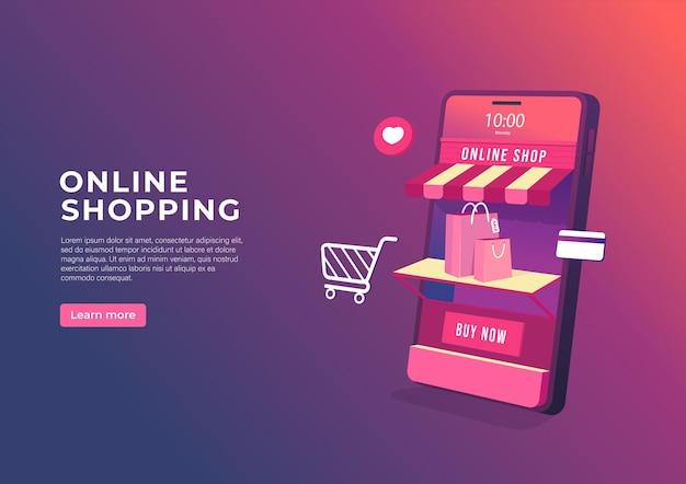 Online shopping on mobile application banner.
