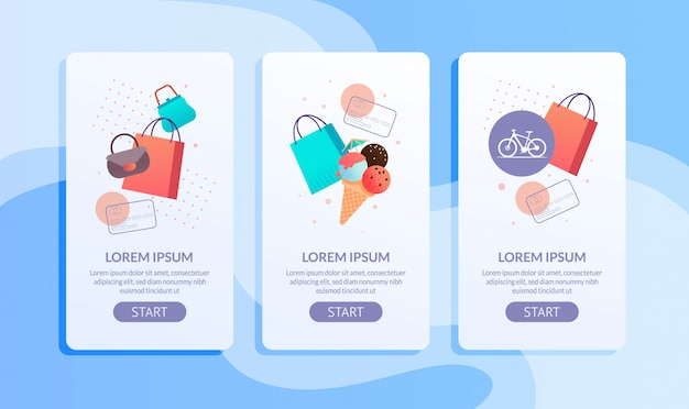 Online shopping mobile application page flat set Premium Vector