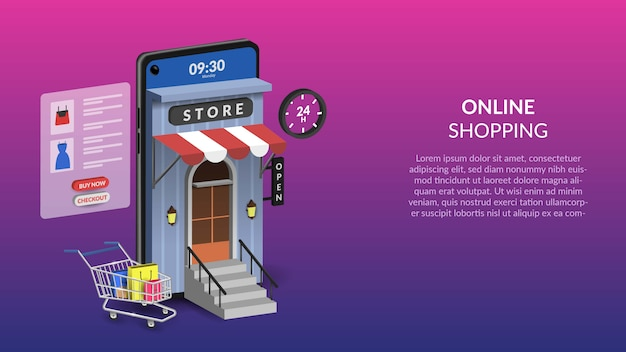 Online shopping on mobile  illustration for web or mobile app