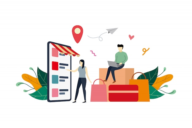 Online shopping mobile phone, ecommerce market flat illustration with small people Premium Vector