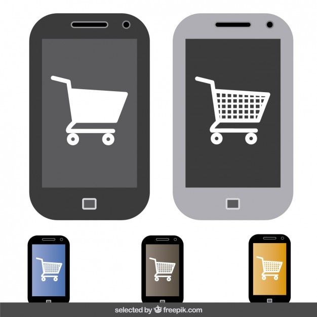 85a530ea9a6 Online shopping in mobile phone Free Vector