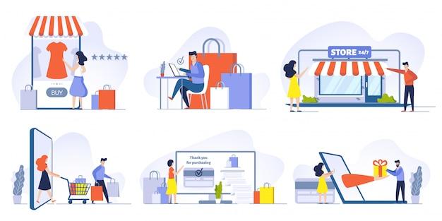 스마트 폰 일러스트 세트에 온라인 쇼핑, 모바일 쇼핑, 인터넷 상점 및 상점 웹 사이트. 만화 캐릭터를 주문하고 구매하는 고객. 전자 상거래 및 디지털 기술 프리미엄 벡터