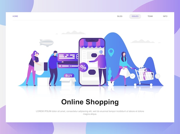 Online shopping modern flat design concept. Premium Vector